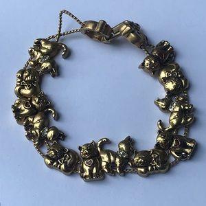 """Avon Gold Tone 7"""" Slide Cat Bracelet w Mouse Clasp"""